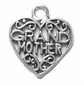 Sterling Silver Grandmother Heart Charm