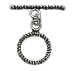 14mm Sterling Silver Braided Toggle Clasp st22