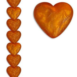 12mm Heart Silk Orange 7