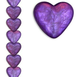 12mm Heart Silk Purple 7