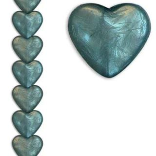 12mm Heart Silk Petrol 7