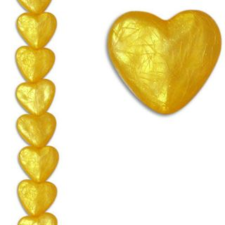 12mm Heart Silk Yellow 7
