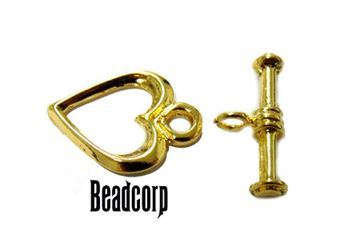 12mm Gold Vermeil Heart Toggle Clasp