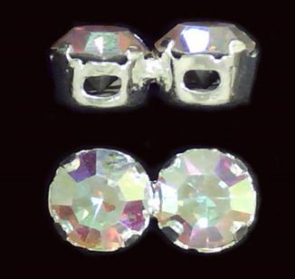 Sterling Silver 2-hole Crystal Spacer Bars 5.5x11mm  - (Crystal AB)