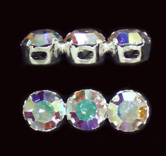 Sterling Silver 3-hole Crystal Spacer Bars 5.5x16mm  - (Crystal AB)