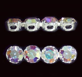 Sterling Silver 4-hole Crystal Spacer Bars 5.5x22mm  - (Crystal AB)