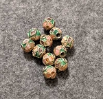6mm Cloisonne Filigree Beads - Green - 10 pcs. **Closeout**