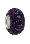 12x7mm Large Hole Crystal Pave Beads AA grade -- Amethyst