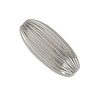 5x13mm Sterling Silver Corrugated Oval Beads