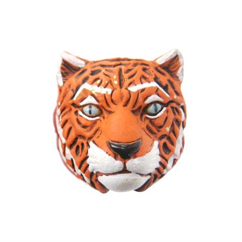 Ceramic Tiger Face Beads 12mm