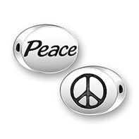 Sterling Silver Message Bead - Peace / Symbol