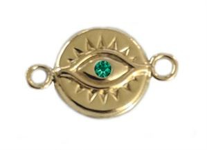 11.5mm Gold Filled Evil Eye Link w/ Emerald CZ - (single sided)