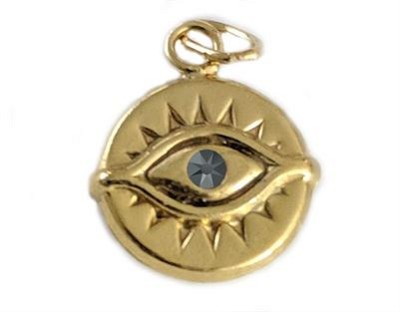 11.5mm Gold Filled Evil Eye Charm w/ Hematite CZ - (double sided)