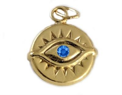 11.5mm Gold Filled Evil Eye Charm w/ Sapphire CZ - (double sided)