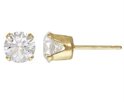 5mm Gold Filled CZ Studs with Backs - 1 Pair