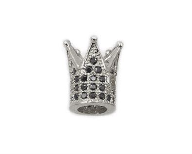8x10mm Silver Plated King Crown Beads Micro CZ Pave with Black Zircon