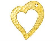 20mm Gold Floating Hammered Heart Drop 2pcs. - Tierracast