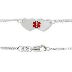 Sterling Silver Medical ID Tag Alert Plate Anklet
