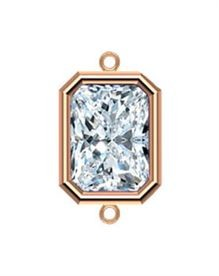 6x4mm Rose Gold Filled Emerald Cut Bezel Connector 3A CZ - Crystal