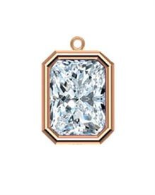 6x4mm Rose Gold Filled Emerald Cut Bezel Drop 3A CZ - Crystal