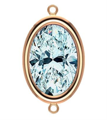 9x7mm Rose Gold Filled Oval Bezel Connector 3A CZ - Crystal