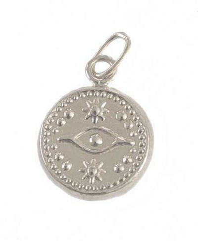 11mm Sterling Silver Evil Eye Charm - (double sided)