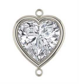 7mm Sterling Silver Heart Bezel Connector 3A CZ - Clear