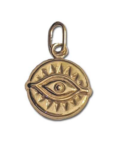 11.5mm Gold Filled Evil Eye Charm - (double sided)