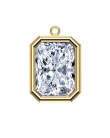 6x4mm Gold Filled Emerald Cut Bezel Drop 3A CZ - Crystal