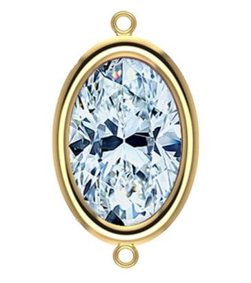 9x7mm Yellow Gold Filled Oval Bezel Connector 3A CZ - Crystal