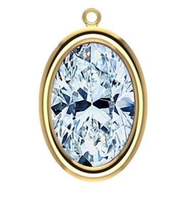 9x7mm Yellow Gold Filled Oval Bezel Drop 3A CZ - Crystal